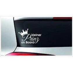 Babyaufkleber Auto Aufkleber kleiner Prinz Junge Krone  Baby on Tour on Board Sticker  Farbe  wählbar