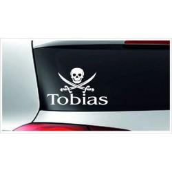 Babyaufkleber Auto Aufkleber Pirat Totenkopf + Wunschname Baby on Tour on Board Sticker  Farbe & Name wählbar