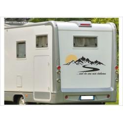Wohnmobil Wohnwagen Caravan Camper WOMA Berge Landschaft Sonne ...und do san mia dahoam Aufkleber Beschriftung Auto