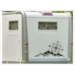 Aufkleber Wohnmobil Wohnwagen Auto Landschaft Kompass WIndrose Berge Alpen Caravan WOMA Wohnmobil