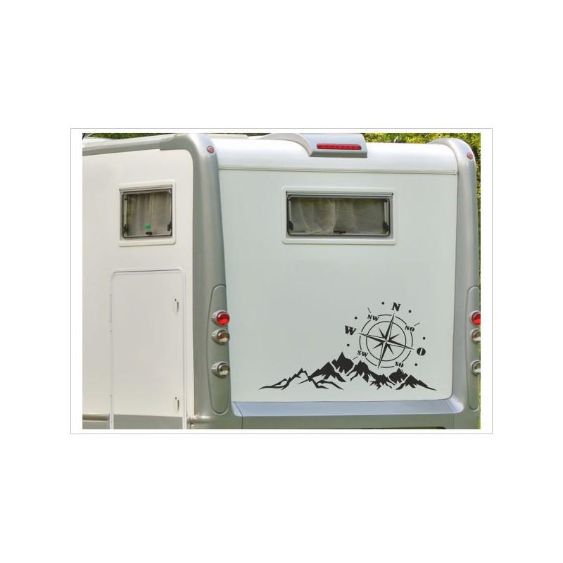 Aufkleber Wohnmobil Wohnwagen Auto Landschaft Kompass Windrose Berge Alpen Caravan Woma Wohnmobil Der Dekor Aufkleber Shop