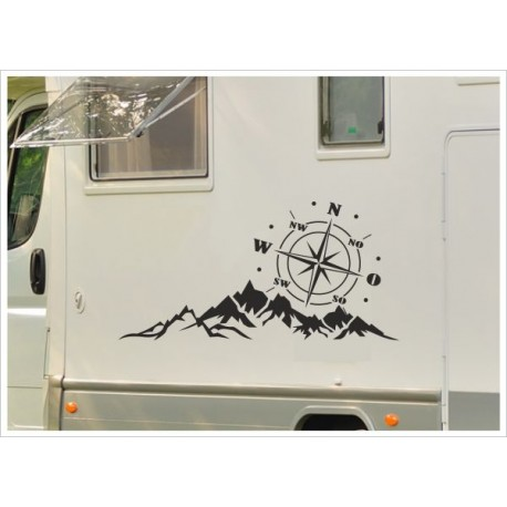 Aufkleber SET Wohnmobil Wohnwagen Auto Windrose Landschaft Kompass Berge Alpen Caravan WOMA