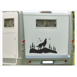 Aufkleber Wohnmobil Wohnwagen Auto Landschaft Wolf Hund Berge Möwen Caravan WOMA