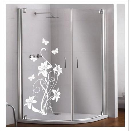 Glas Dekor Aufkleber Schmetterling Blüten Blume  Tribal Tattoo Fenster, Lack & Glas
