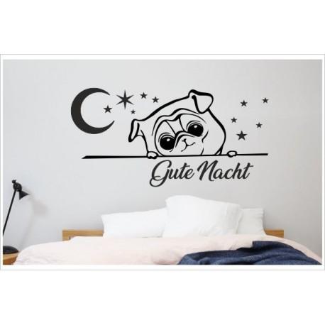 Tattoo Aufkleber Schlafzimmer Hund Hündchen Dog Gute Nacht Mops Mond Sterne  Wandaufkleber Wandtattoo - Der Dekor Aufkleber Shop