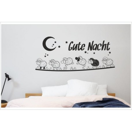 Tattoo Aufkleber Schlafzimmer Schaf Schäfchen zählen Gute Nacht schwarzes  Schaf Wandaufkleber Wandtattoo - Der Dekor Aufkleber Shop