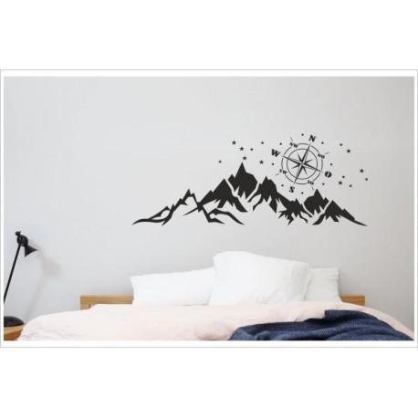 Tattoo aufkleber schlafzimmer landschaft panorama berge windrose kompass sterne wandaufkleber - Tattoo schlafzimmer ...